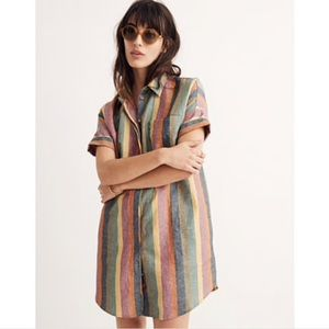 Madewell courier shirt dress in rainbow stripe